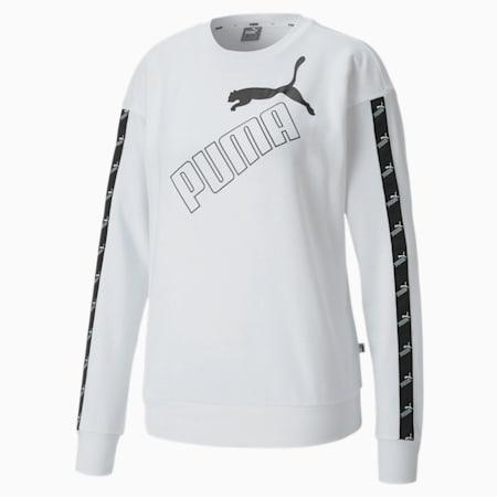 Amplified Crew Neck Women's Sweatshirt, Puma White, small-IND