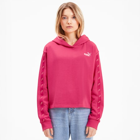 Amplified Cropped Women's Hoodie, Glowing Pink, small