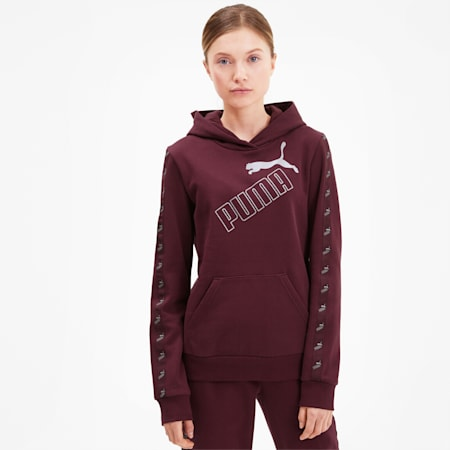 Amplified Women's Hoodie, Burgundy-Silver, small