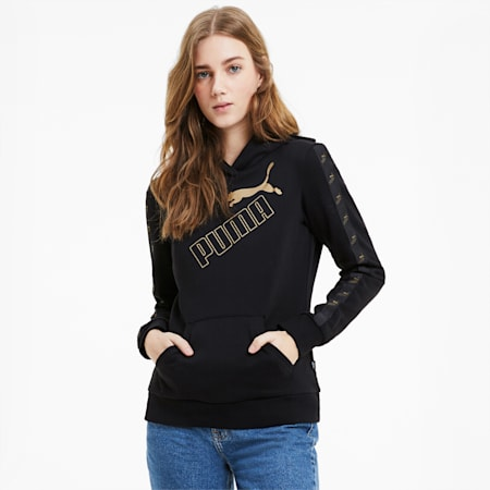 Amplified Women's Hoodie, Puma Black-Gold, small