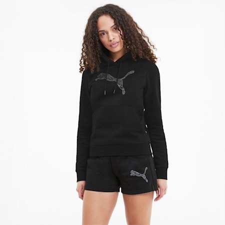 Damska bluza z kapturem KA, Puma Black-CAT, small