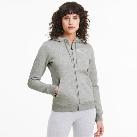 KA Full Zip Women's Hoodie, Light Gray Heather, small