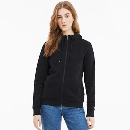 Modern Basics Full-Zip Women's Hoodie, Puma Black, small-SEA