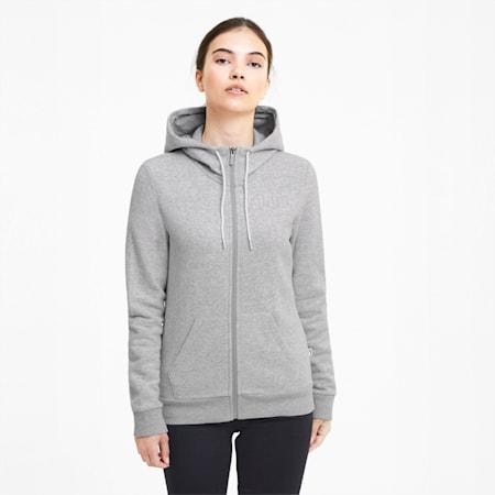 Modern Basics Women's Full Zip Hoodie, Light Gray Heather, small