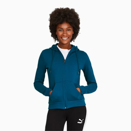 Modern Basics Women's Full Zip Hoodie, Digi-blue, small