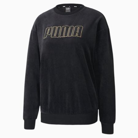 Modern Basics Velour Crew Women's Sweat Shirt, Puma Black-Gold, small-IND