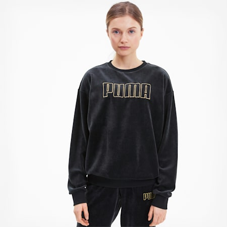 Modern Basics Women's Velour Crewneck Sweatshirt, Puma Black-Gold, small