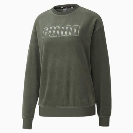 Modern Basics Velour Crew Women's Sweat Shirt, Thyme-Silver, small-IND