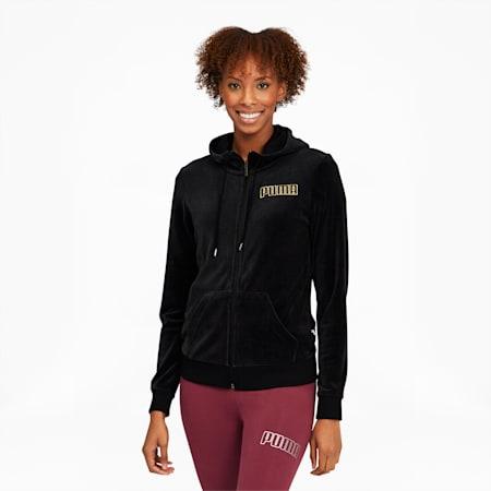 Modern Basics Women's Velour Full Zip Hoodie, Puma Black-Gold, small