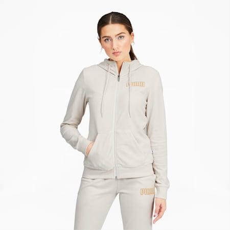Modern Basics Women's Velour Full Zip Hoodie, Vaporous Gray-Gold Metallic, small
