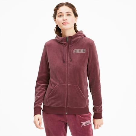 Modern Basics Women's Velour Full Zip Hoodie, Burgundy-Silver, small