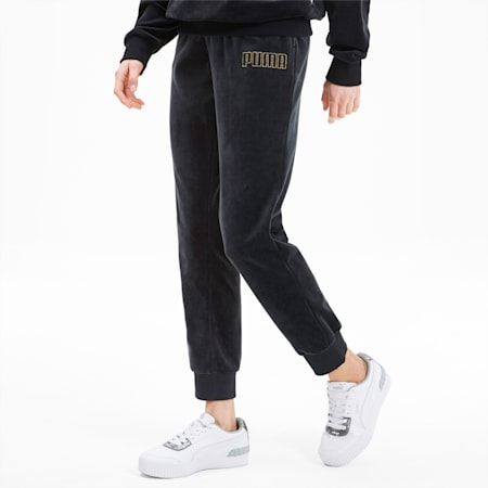 Modern Basics Women's Velour Pants, Puma Black-Gold, small