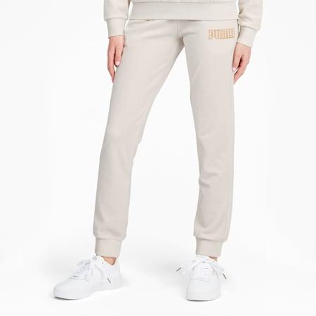 Modern Basics Women's Velour Pants, Vaporous Gray-Gold Metallic, small