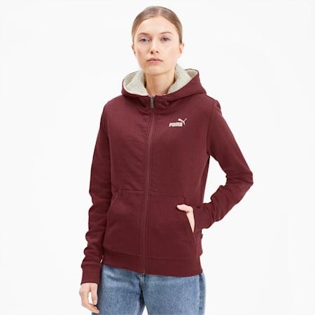 Essentials+ Women's Sherpa Full Zip Hoodie, Burgundy, small