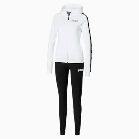 Damen Stretch Sweatanzug mit Kapuze, Puma White-Puma Black, small