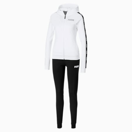 Stretch Hooded Women's Sweat Suit, Puma White-Puma Black, small