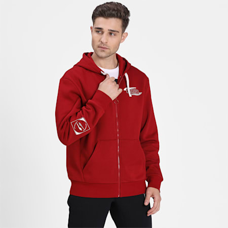 Rebel Men's Full Zip Hoodie, Red Dahlia, small