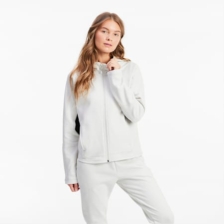 Evostripe Full-Zip Women's Hoodie, Vaporous Gray, small
