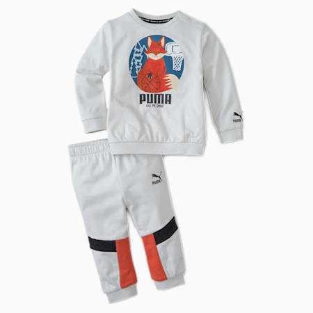 Animals Infant + Toddler Crewneck + Jogger Set, Vaporous Gray, small