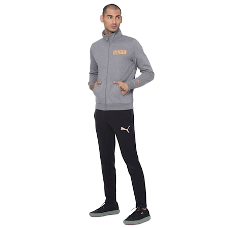 Mens Graphic PUMA Logo Sweatshirt VII, Medium Gray Heather, small-IND