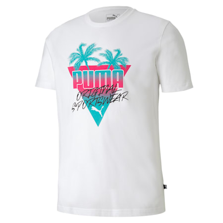 Summer Palms Men's Tee, Puma White, small