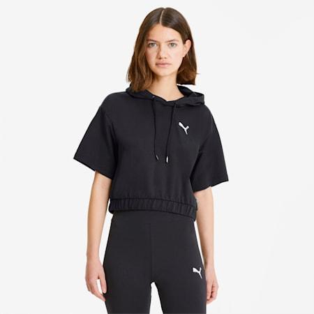 PUMA Celebration Women's Short Sleeve Hoodie, Cotton Black, small-SEA