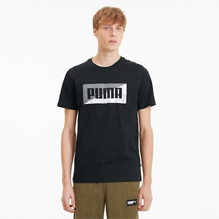 Summer Print Men's Graphic Tee, Cotton Black, small