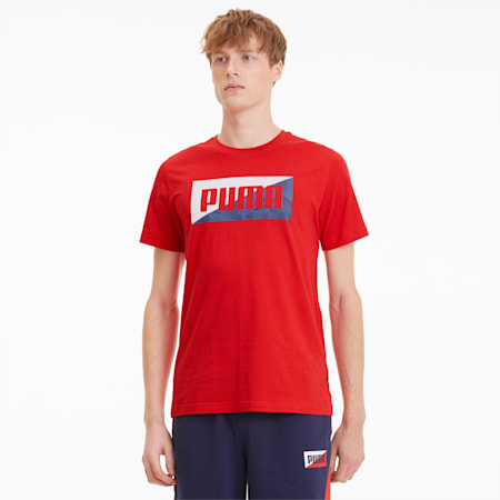 Summer Print Men's Graphic Tee, High Risk Red, small