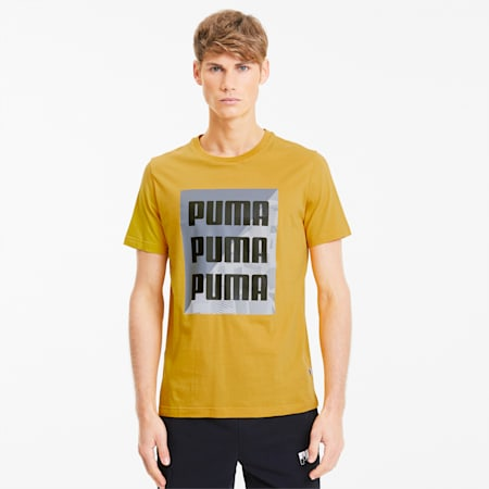 Summer Print Men's Graphic Tee, Golden Rod, small