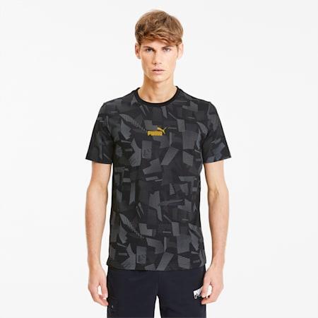 Camiseta AOP con estampado de verano para hombre, Algodón-Negro-AOP, pequeño