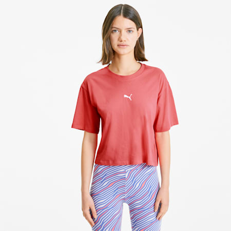 Summer Print Women's Graphic Tee, Sun Kissed Coral, small