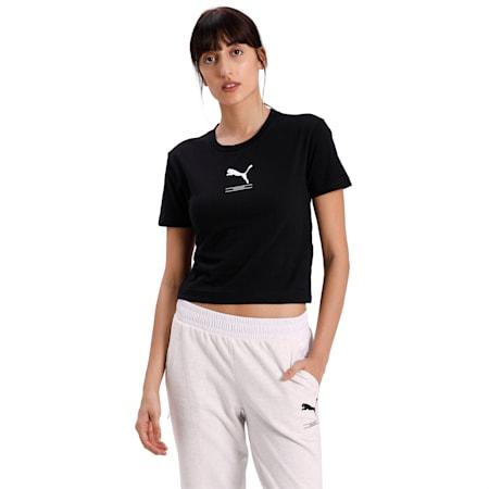 Nu-tility Women's Crop T-shirt, Puma Black, small-IND