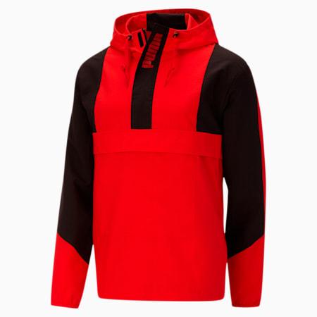 Style Overhead Men's Windbreaker, High Risk Red-Puma Black, small