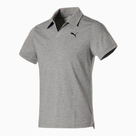 スキッパー ポロシャツ, Medium Gray Heather, small-JPN