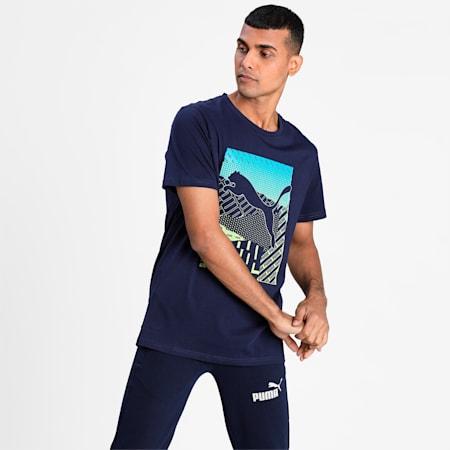 Cat Box Regular Fit Men's T-Shirt, Peacoat, small-IND