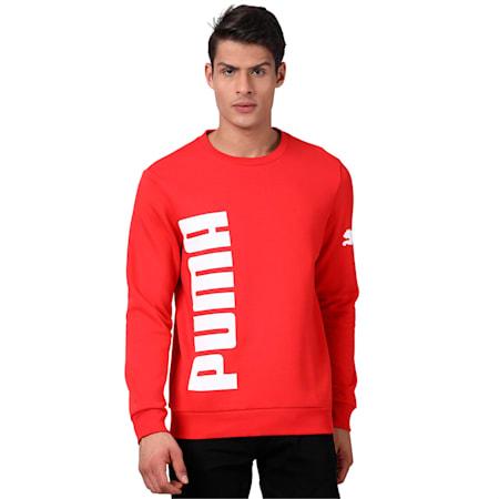 Big Logo Crew FL Sweatshirt, High Risk Red, small-IND