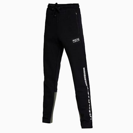 PUMA x Virat Kohli Colourblock Men's Sweatpants, Puma Black-Thyme, small-IND