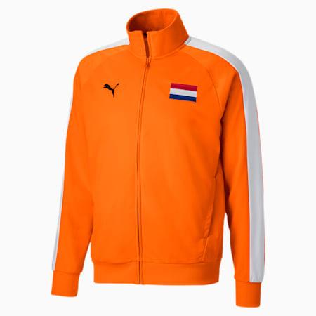 Unisex Track Jacket, Vibrant Orange-Puma White, small