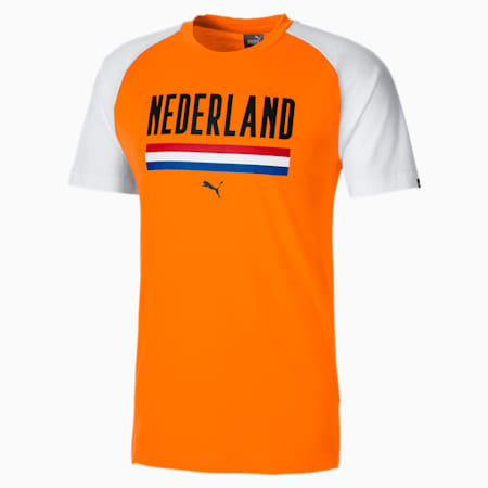T-shirt Calcio Unisex, Vibrant Orange-Puma White, small