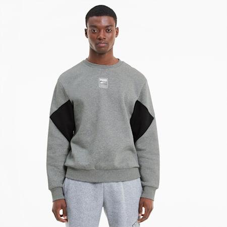 Rebel Small Logo Herren Sweatshirt, Medium Gray Heather, small