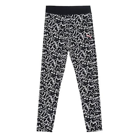 Girl's All Over Print  Leggings, Puma Black, small-IND