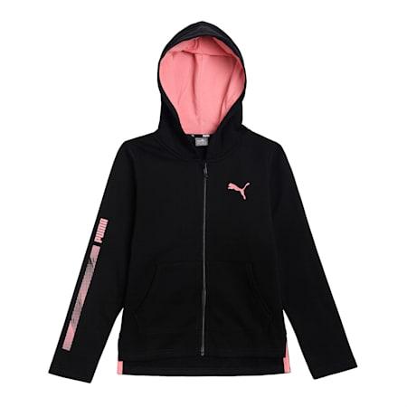 Girl's Hooded Full-Zip Sweatshirt, Puma Black, small-IND