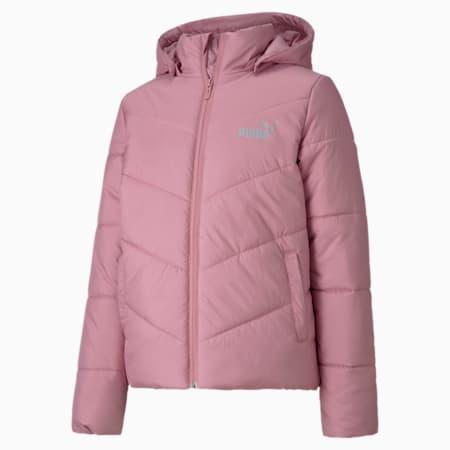 Essentials Girls' Padded Hooded Jacket, Foxglove, small