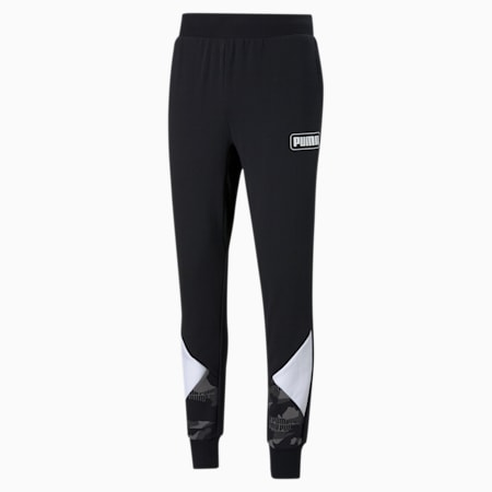 Rebel Camo Men's AOP Sweatpants, Cotton Black, small