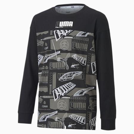 キッズ アルファ AOP 長袖 Tシャツ 120-160cm, Puma Black, small-JPN