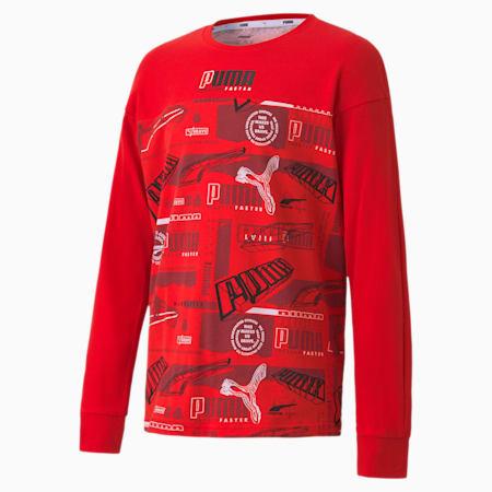 キッズ アルファ AOP 長袖 Tシャツ 120-160cm, High Risk Red, small-JPN