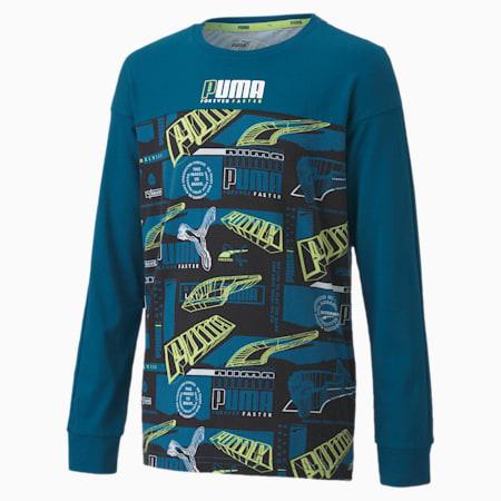 キッズ アルファ AOP 長袖 Tシャツ 120-160cm, Digi-blue, small-JPN