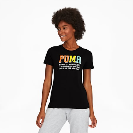 NYC Worldly Women's Tee, Puma Black, small