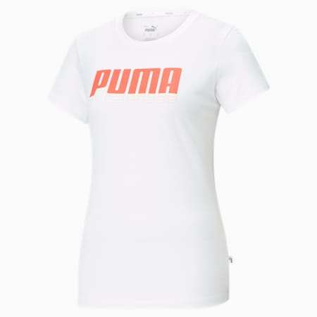 Rebel Graphic Regular Fit Women's  T-shirt, Puma White-Georgia Peach, small-IND