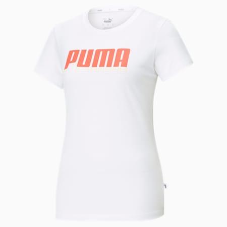 Rebel Graphic Women's  T-shirt, Puma White-Georgia Peach, small-IND